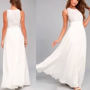 NWT Lulu's Forever and Always Lace Maxi Dress